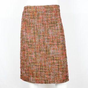 J.Crew No 2 Pencil Skirt Harvest Tweed Camel Coral